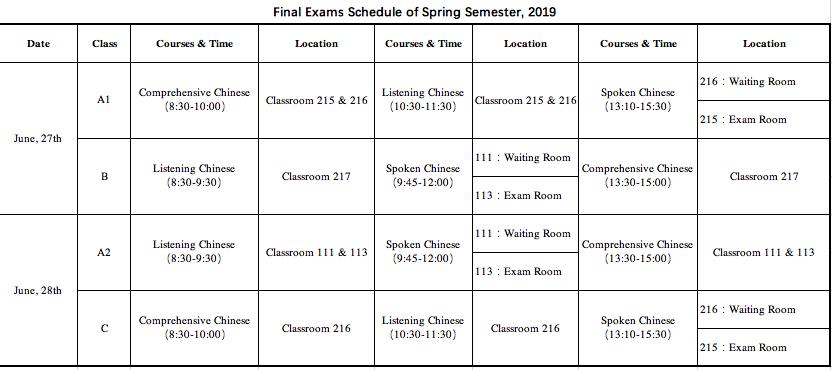 Notice on Final Exams of Spring Semester, 2019_Liaoning